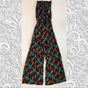 Multi-colored flared jumpsuit 70's look tubetop